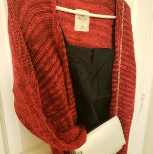 Knitted red cardigan